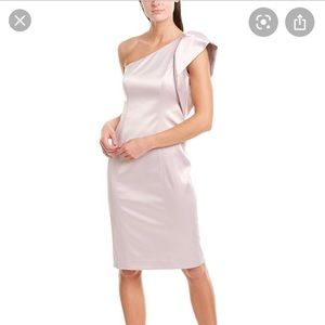 Eliza J One Shoulder Champagne Sheath Dress SZ 10